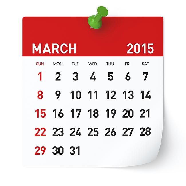 March 2015 - Calendar