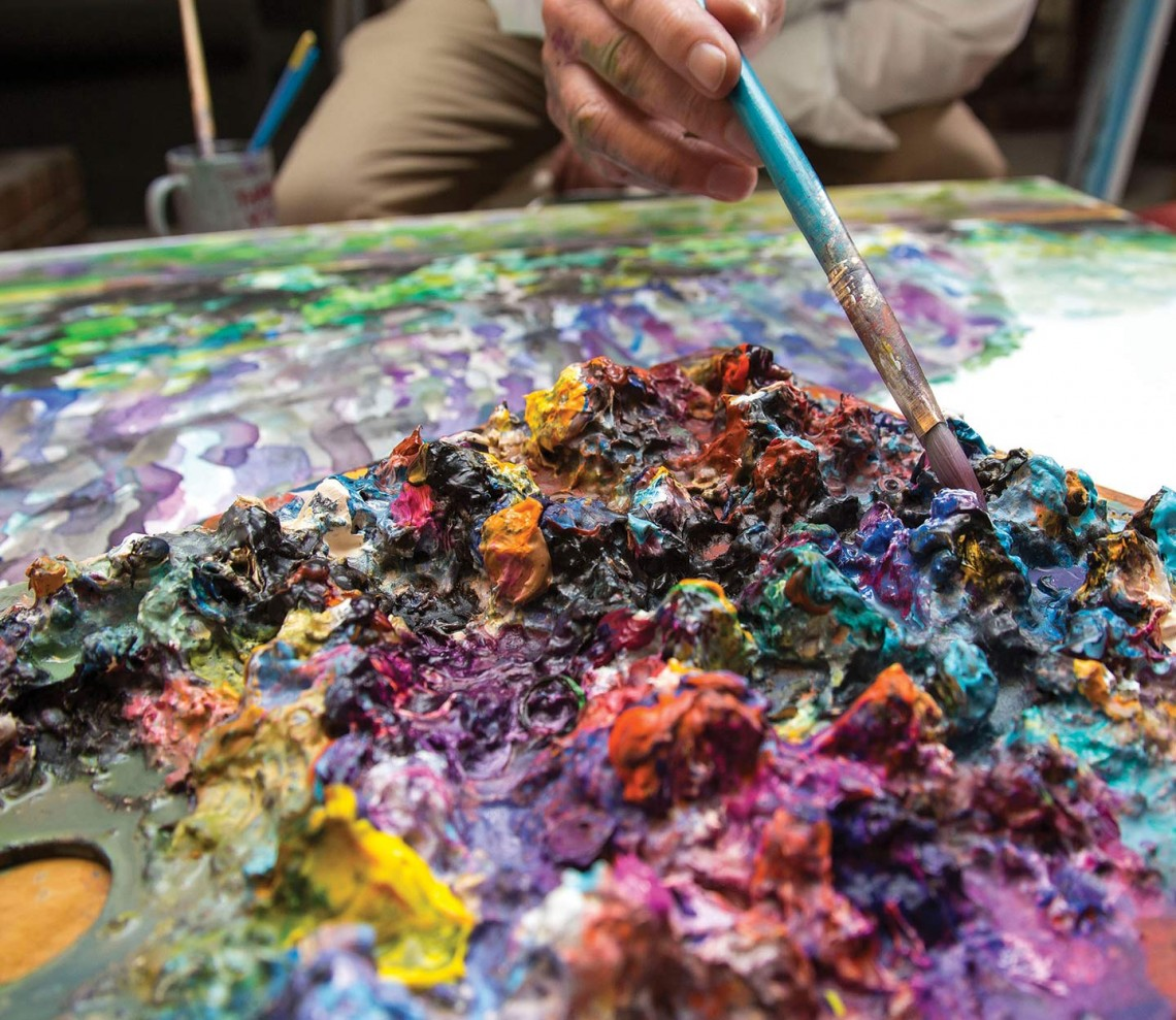 Jacob's palette is a beautiful, chaotic profusion of colors.