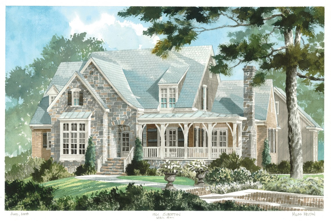 Rendering by Miles Melton :: photography by Sara Edwards Neal :: Southern Living House Plan, Elberton Way, plan #1561, designed by Mitchell Ginn, Copyright Southern Living Inc.