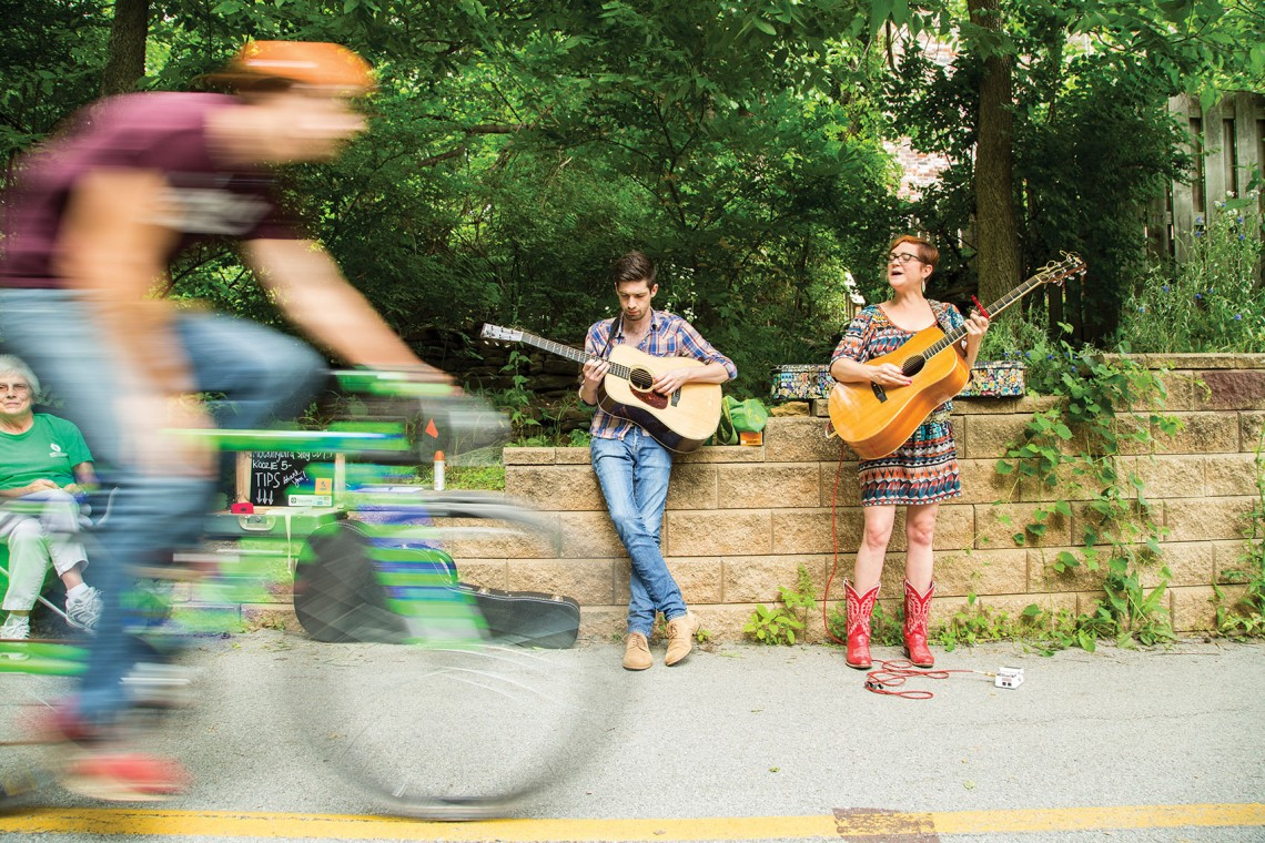 The Trail Mix Concert Tour includes visiting and local musicians performing while pedestrians and cyclists enjoy the trail system in northwest Arkansas.