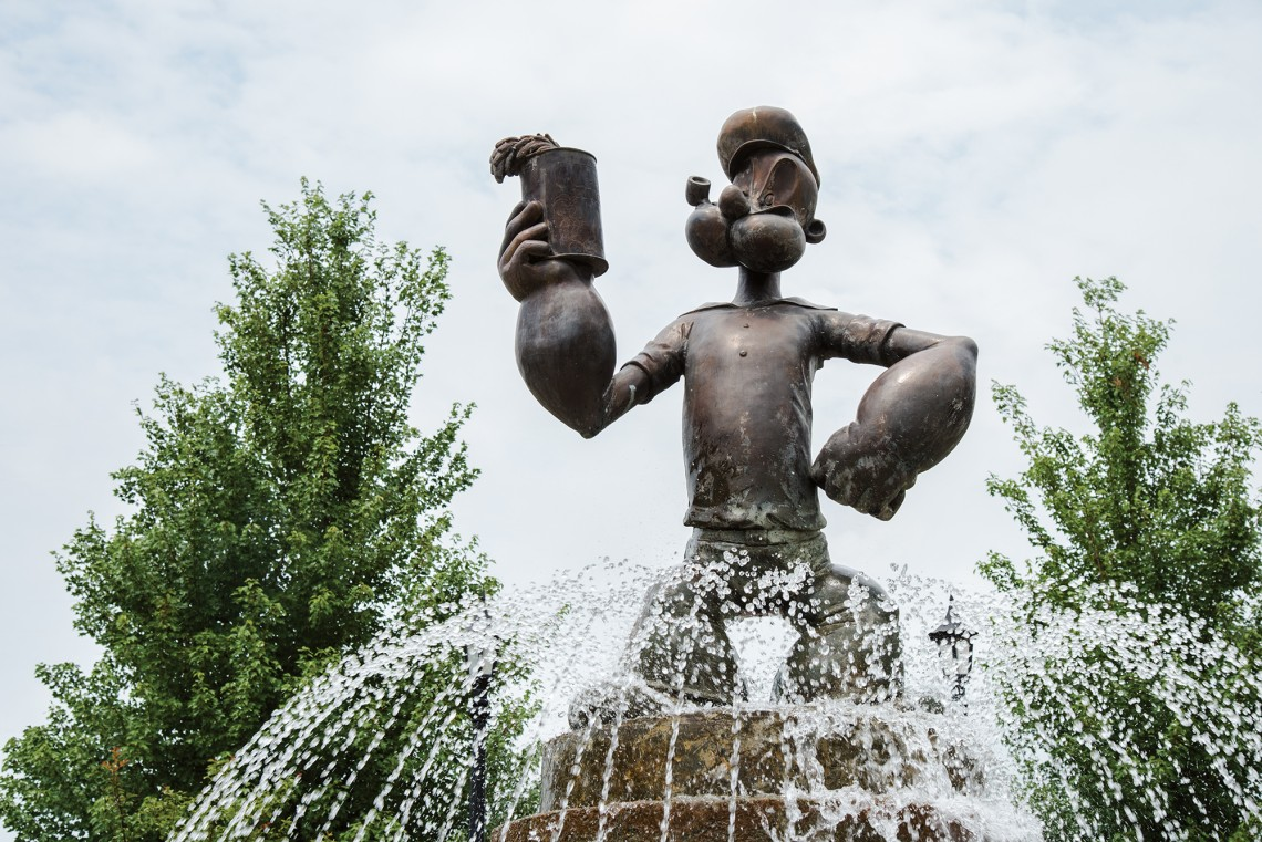 8-foot-tall statue of Popeye in Alma. Photography by  Ashlee Nobel