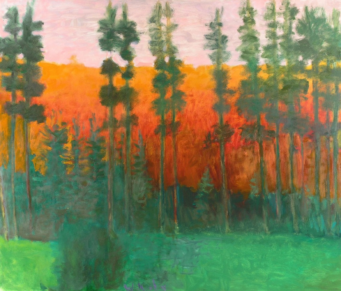 """Wolf Kahn, """"Yellowstone Silhouette"""" (2008) oil on canvas, 44 x 52 inches"""