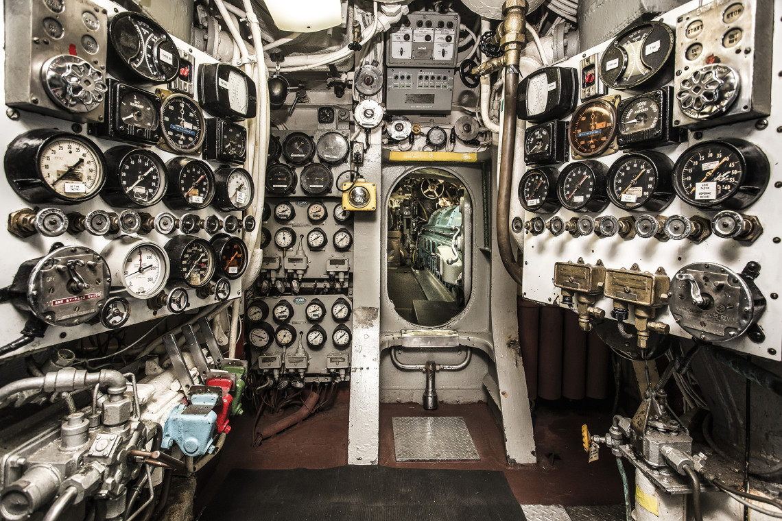 The submarine's engine room; Tourists get to view a 98-percent complete submarine from World War II.
