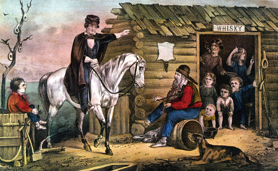 Currier & Ives print of Edward Payson Washbourne's painting Arkansas Traveler; circa 1870.