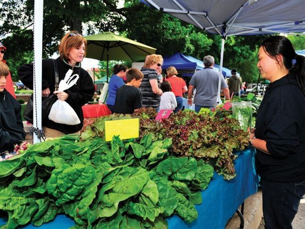 A view of the Fayetteville Farmers Market, one of Arkansas' many farmers markets.
