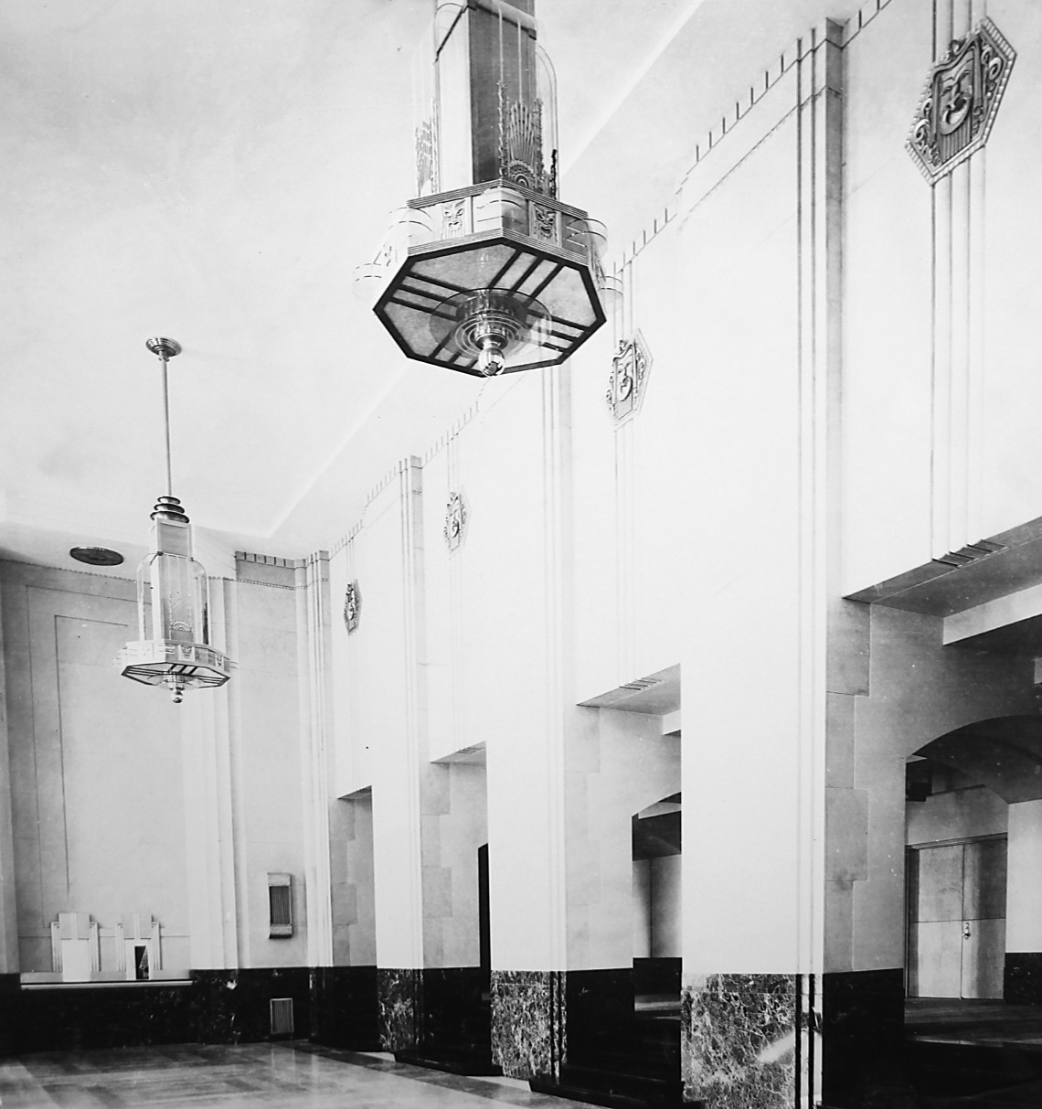 A historic view of the main lobby of the Joseph T. Robinson Memorial Auditorium officially opened in December 1939. The renovation of the Robinson Center has revealed Art Deco features covered in the past in the name of modernizing. The building was placed on the National Register of Historic Places in 2007.