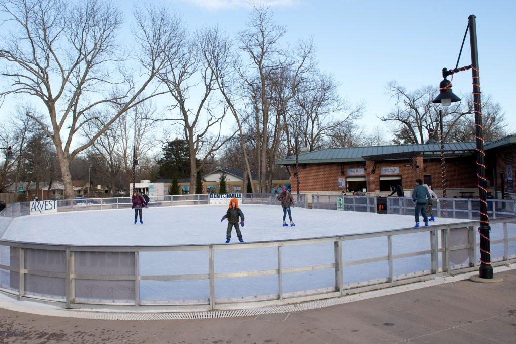 Ice skating at Lawrence Plaza in Bentonville.