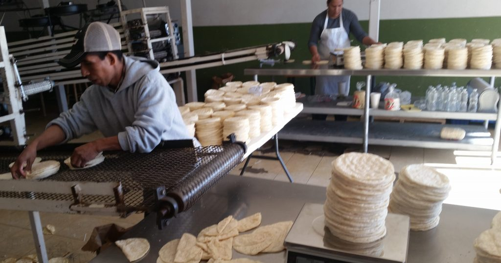 Victor (foreground) and Patty stack, weigh and wrap tortillas at Tortilleria Brenda