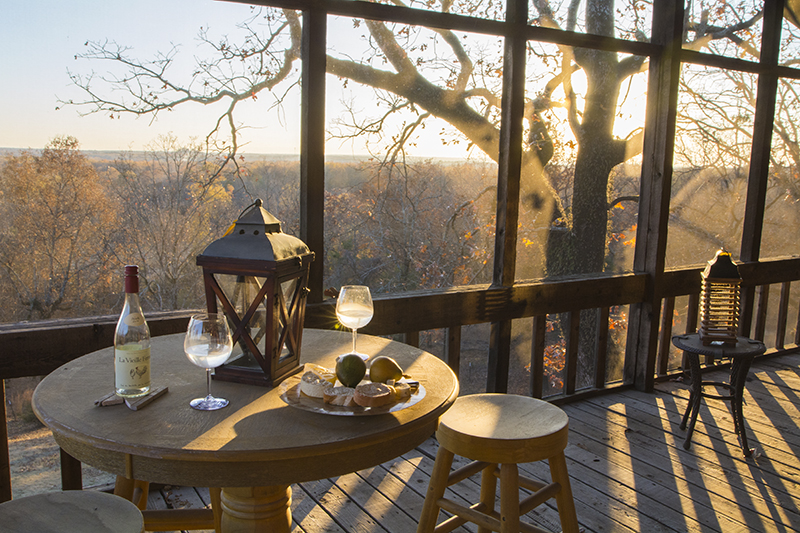 Previous Page  ROOM WITH A VIEW The screened porch is Bob and Kara's favorite room of the house, whether enjoying a beverage and taking in the view, or a night of watching TV, it makes the transition from inside to outside fairly seamless. The views stretch to the Little Rock Air Force Base in Jacksonville and beyond. The porch was once a perfect perch for watching Bob's children, now adults, swim in the nearby pool. The lanterns are from Ken Rash's Arkansas.