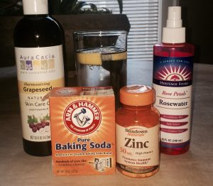 Grapeseed Oil, Rosewater, Baking Soda, Zinc, Lemon Water