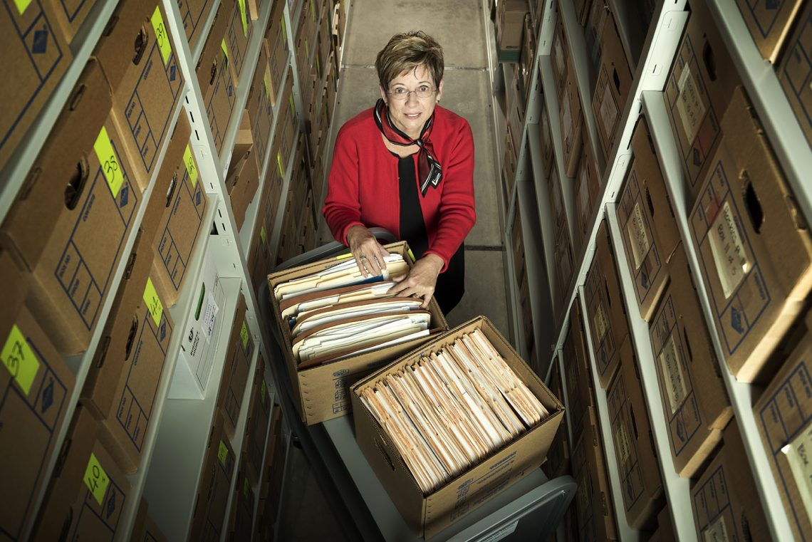 Associate provost Deborah Baldwin with archive of Vic Snyder's 700 boxes of papers at the Center for Arkansas History and Culture in downtown Little Rock. Photographed on October 17, 2017.