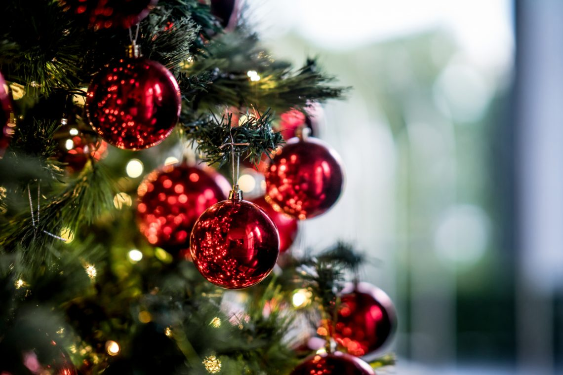 Beautiful decorated Christmas tree to be used as background - holidays concepts