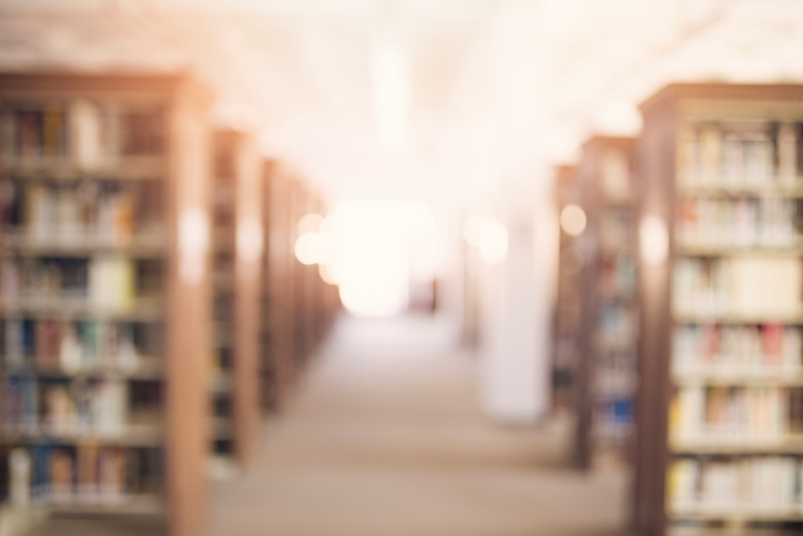 A unfocused image of a modern library