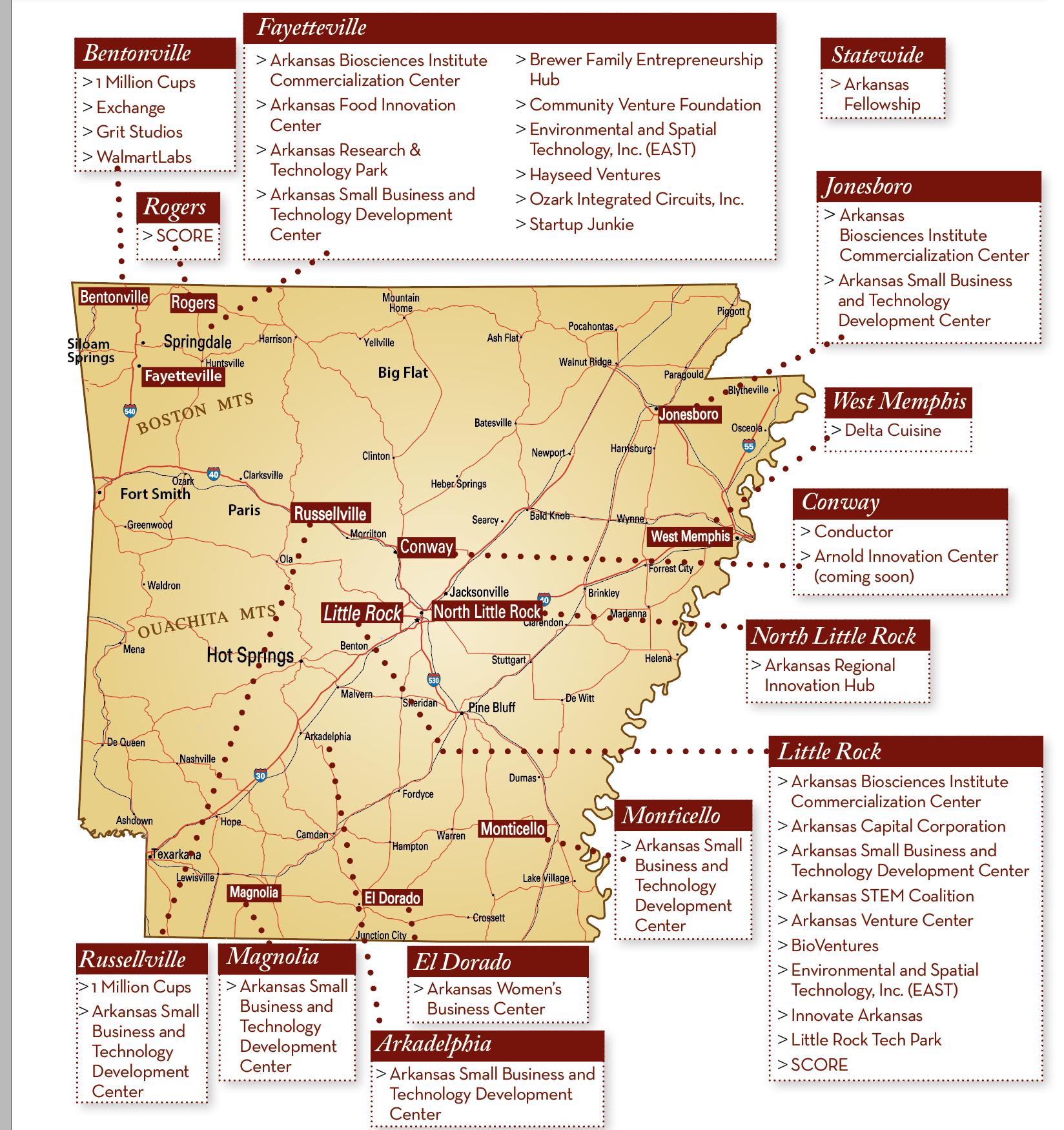 Resource map of Arkansas