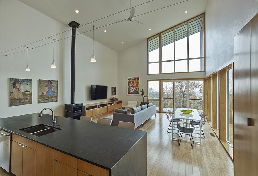 Living area windows in Harrison Sutcliff's home