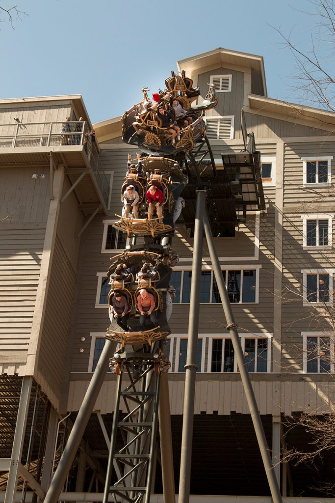 The drop on Silver Dollar City's Time Traveler roller coaster in Branson, Missouri