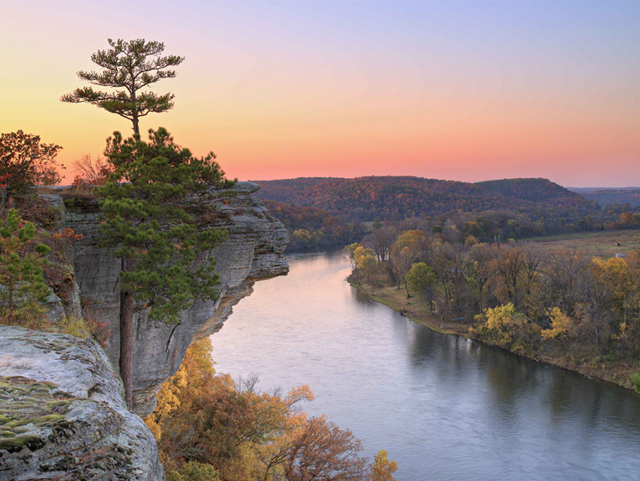 A magnificent bluff at Calico Rock overlooks the White River, providing visitors with a view they won't soon forget. Photo courtesy of Arkansas Department of Parks and Tourism.