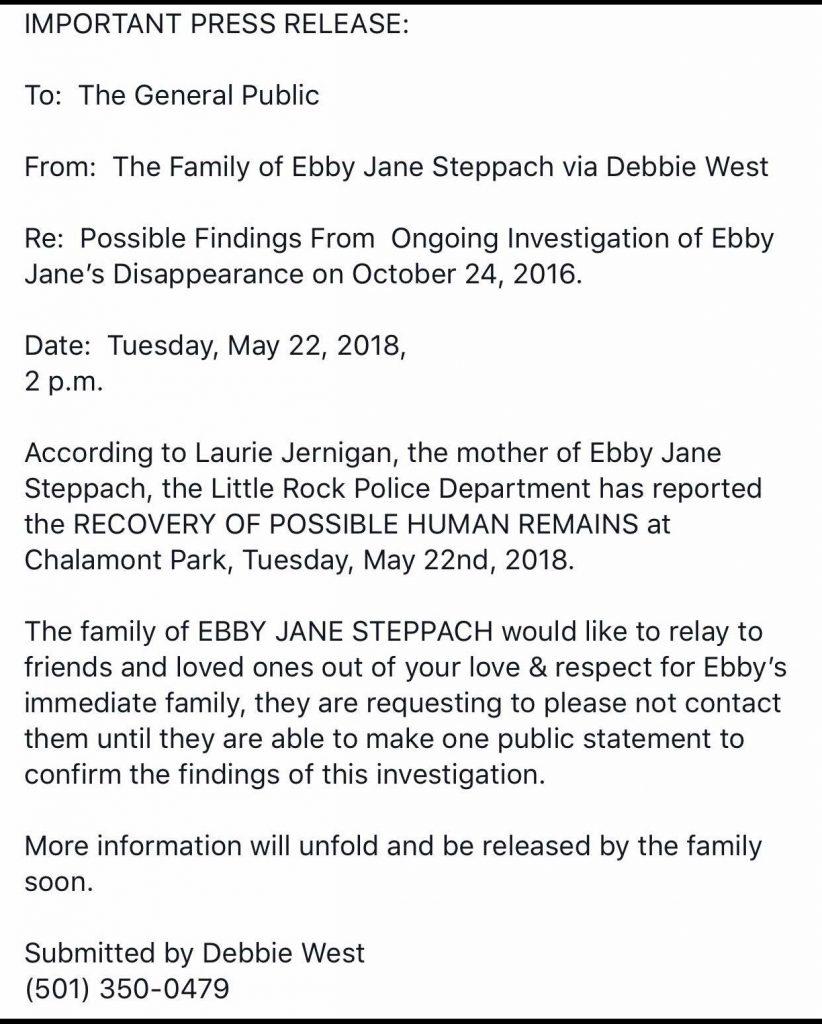 Ebby Steppach press release