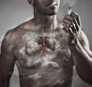 smoking, lung disease conceptual portrait.