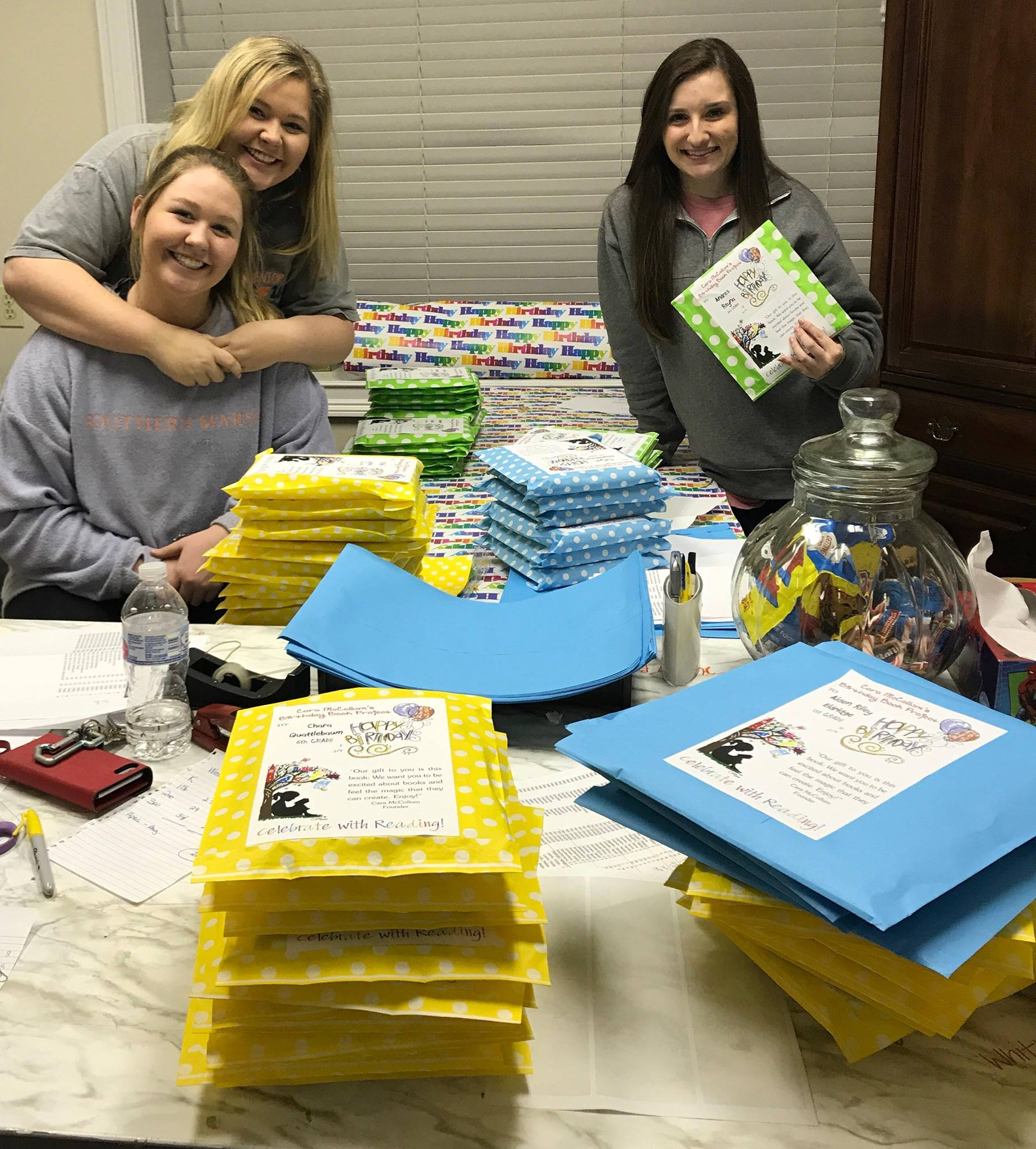 Volunteers for the Cara McCollum Birthday Book Project.