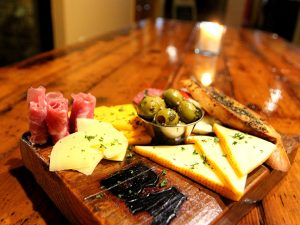 Meats and cheeses on a board