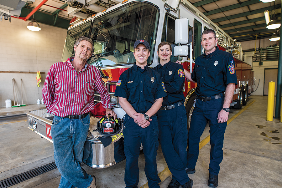 Timothy Grimes continues to share his stories with young firefighters.