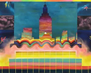 colorful painting of buildings