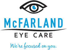 blue and black logo with eye