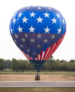 hot air balloon with red white and blue