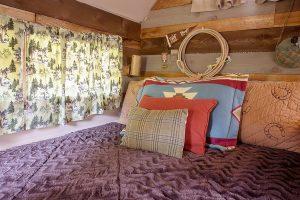 bed inside camper