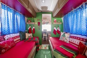 Inside a christmas camper