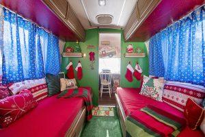 Inside a christmas camper