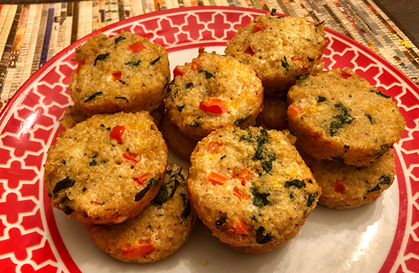 Tasty Treats: Quinoa Egg White Spinach and Red Pepper Muffins