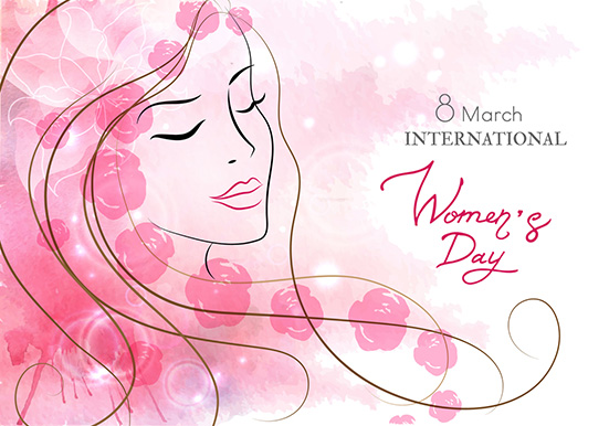 Beautiful woman with flowers. Watercolor pink background. Mother s day, 8 march, beauty, style