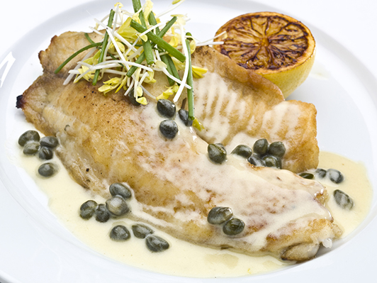 Saute fillet of tilapia with Capers Sauce  (this picture has been taken with a Hasselblad H3D II 31 megapixels camera)