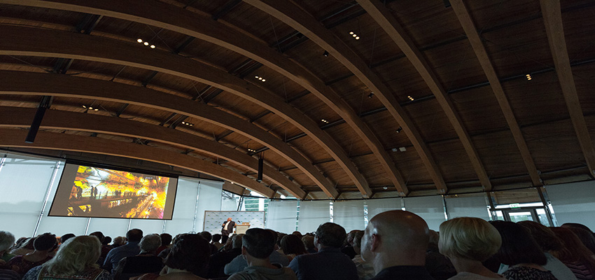Photo by Marc F. Henning Architect Mosha Safdie lecture on July 28, 2017, at Crystal Bridges Museum of American Art in Bentonville, Ark.